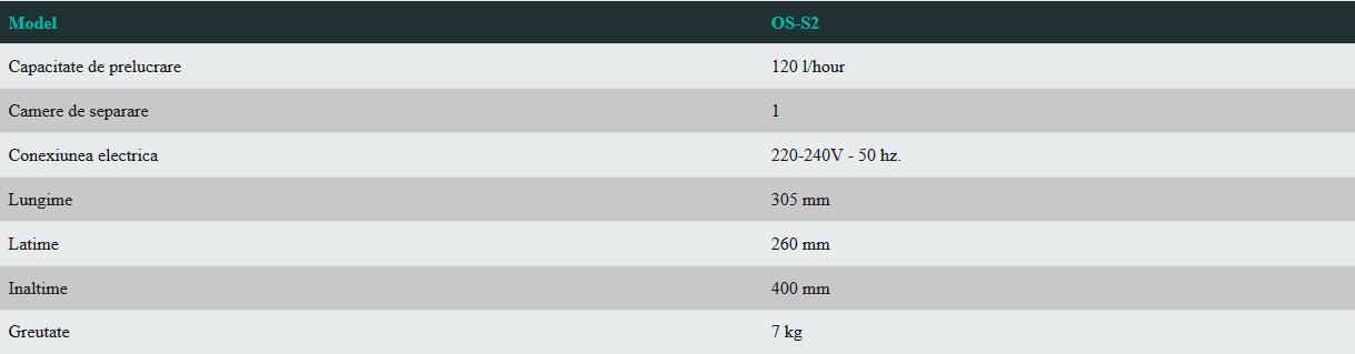 Date tehnice separator de ulei strain din lichidele de proces